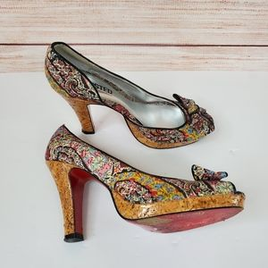 Unlisted Floral Bow Cork Heels